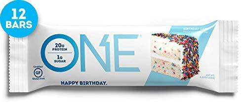 ONE Protein Bars, Birthday Cake, Gluten Free with 20g Protein, only 1g Sugar, Guilt-Free Snacking, 2.12 oz (12 Pack) - Gains Everyday