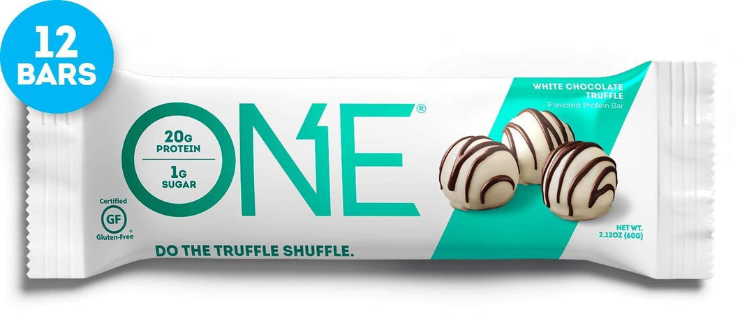 ONE Protein Bars, White Chocolate Truffle, Gluten Free with 20g Protein and only 1g Sugar, Guilt-Free Snacking, 2.12 oz (12 Pack) - Gains Everyday
