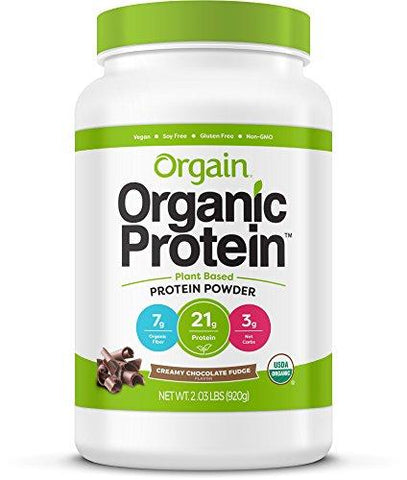 gains-everyday,Orgain Organic Protein Powder, Creamy Chocolate Fudge - Vegan, Low Net Carbs, Gluten, Lactose, and Soy Free, No Sugar Added, Kosher, Non-GMO, 2.03 lb,Orgain,Protein Powder