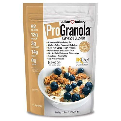 gains-everyday,ProGranola 12g Protein Cereal : (Espresso/Coffee) (Paleo : 3 Net Carbs : Gluten-Free : Grain-Free) (15 Servings),Julian Bakery,Protein Cereal