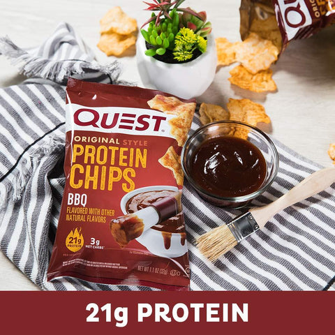 gains-everyday,Quest Nutrition BBQ Protein Chips, Low Carb, Gluten Free, Potato Free, Baked, 12 Count,Quest Nutrition,Protein Chips