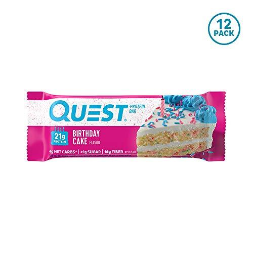 Quest Nutrition Birthday Cake Protein Bar, High Protein, Low Carb, Gluten Free, Keto Friendly, 12 Count - Gains Everyday