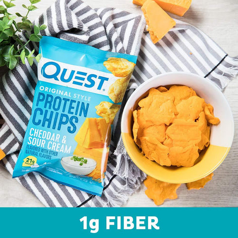 Quest Nutrition Cheddar & Sour Cream Protein Chips, Low Carb, Gluten Free, Potato Free, Baked, 12 Count-Gains Everyday