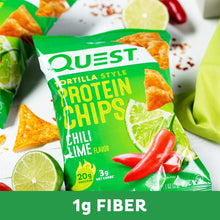 Quest Nutrition Tortilla Style Protein Chips, Chili Lime, Low Carb, Gluten Free, Baked, 8 Count - Gains Everyday