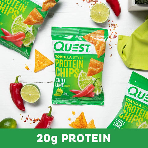 Quest Nutrition Tortilla Style Protein Chips, Chili Lime, Low Carb, Gluten Free, Baked, 12 Count-Gains Everyday