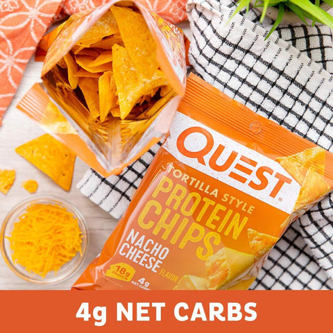 gains-everyday,Quest Nutrition Tortilla Style Protein Chips, Nacho Cheese, Low Carb, Gluten Free, Baked, 12 Count,Quest Nutrition,Protein Chips