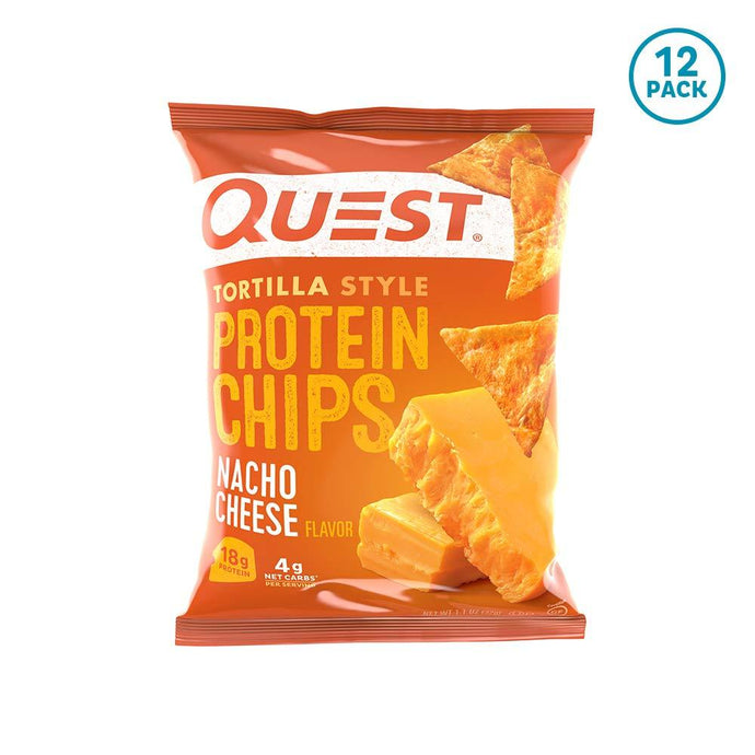 Quest Nutrition Tortilla Style Protein Chips, Nacho Cheese, Low Carb, Gluten Free, Baked, 12 Count - Gains Everyday