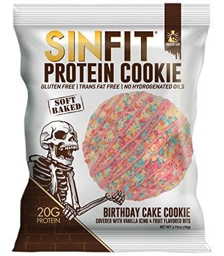 SINFIT Birthday Cake Protein Cookies by Sinister Labs - Soft baked with 20g of protein and only 7g of sugar - gluten free - 2.75 oz cookies (10-count) - Gains Everyday