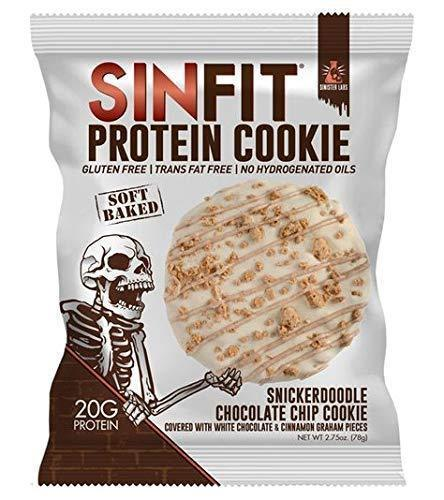 SINFIT Snickerdoodle Chocolate Chip Protein Cookies by Sinister Labs - Soft baked cookie drizzled with white chocolate, packed with 20g of protein - gluten free - 2.75 oz cookies (10-count) - Gains Everyday