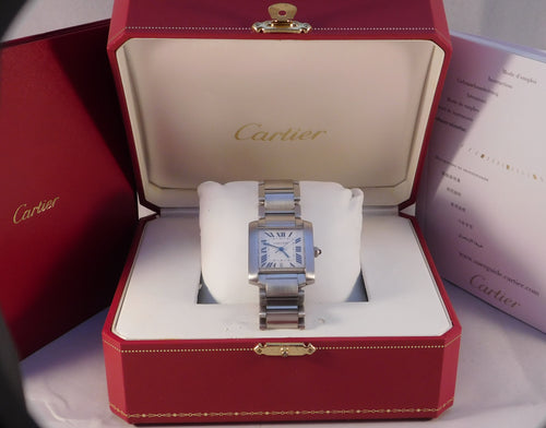 Cartier Tank Francaise 2302 Automatic Stainless Steel W51002Q3 Mens Watch...28mm