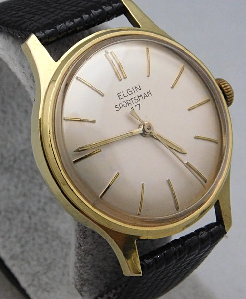 Elgin Sportsman 17 Gold Plated Manual Wind Vintage Mens Watch....33mm