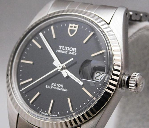 Rolex Tudor Prince Date Ref. 74000 14k Solid White Gold Bezel Swiss Mens Watch...34mm