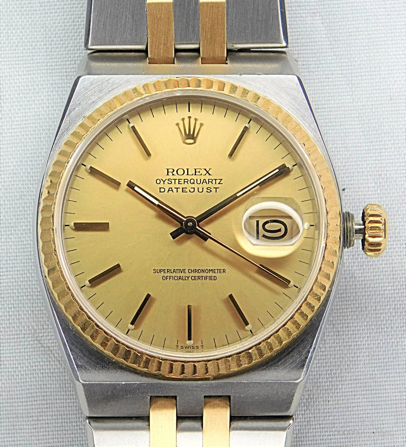 Rolex Oysterquartz Datejust 17013 18k Solid Yellow Gold & SS Mens Watch....36mm