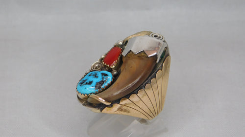 Navajo Sterling Silver With Claw/Turquoise/Coral Vintage Mens Ring....Size 10.75
