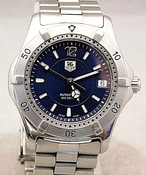 Tag Heuer WK2117 Automatic Vintage 1990's Blue Dial SS Mens Watch....37mm | The Vintage Outlet
