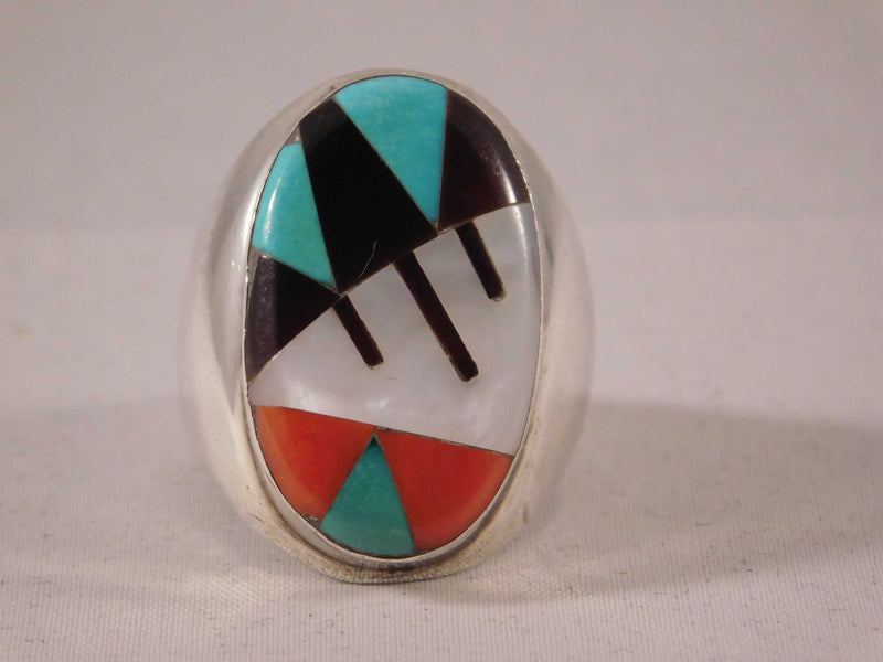 Zuni Inlay Turquoise Coral Jet and Mother of Pearl Mens Ring