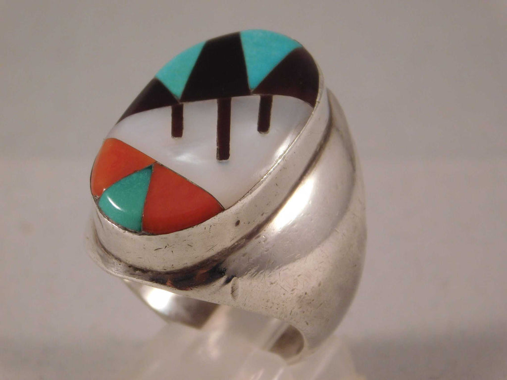 Zuni Inlay Turquoise Coral Jet and Mother of Pearl Huge Mens Ring....Size 10.5