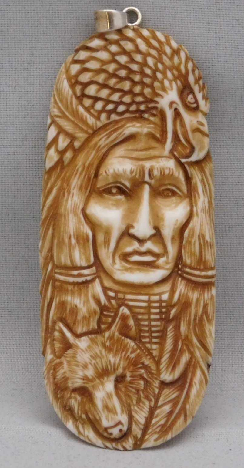 Navajo Hand Carved  Bison Bone Pendant