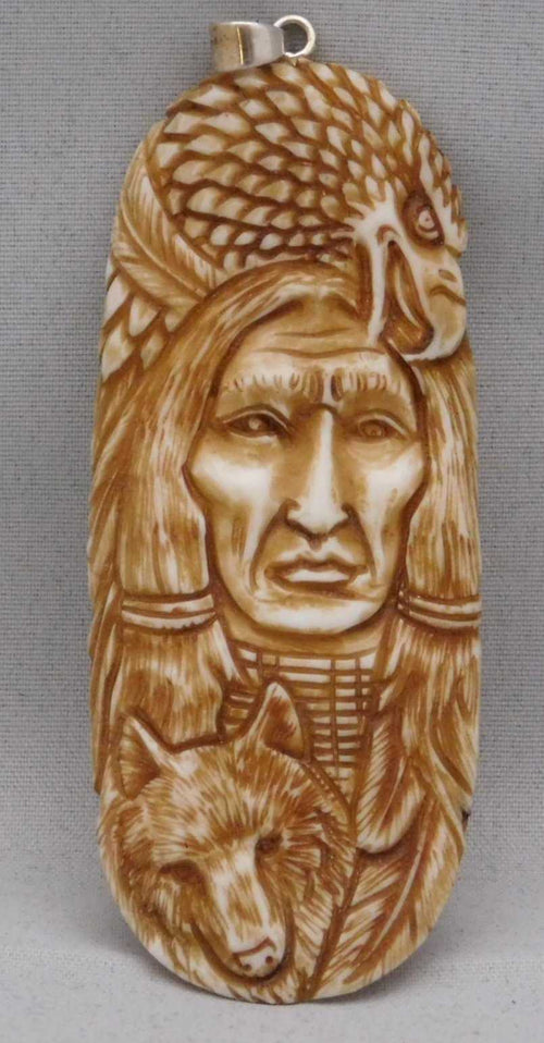 Navajo Hand Carved  Bison Bone Pendant | The Vintage Outlet