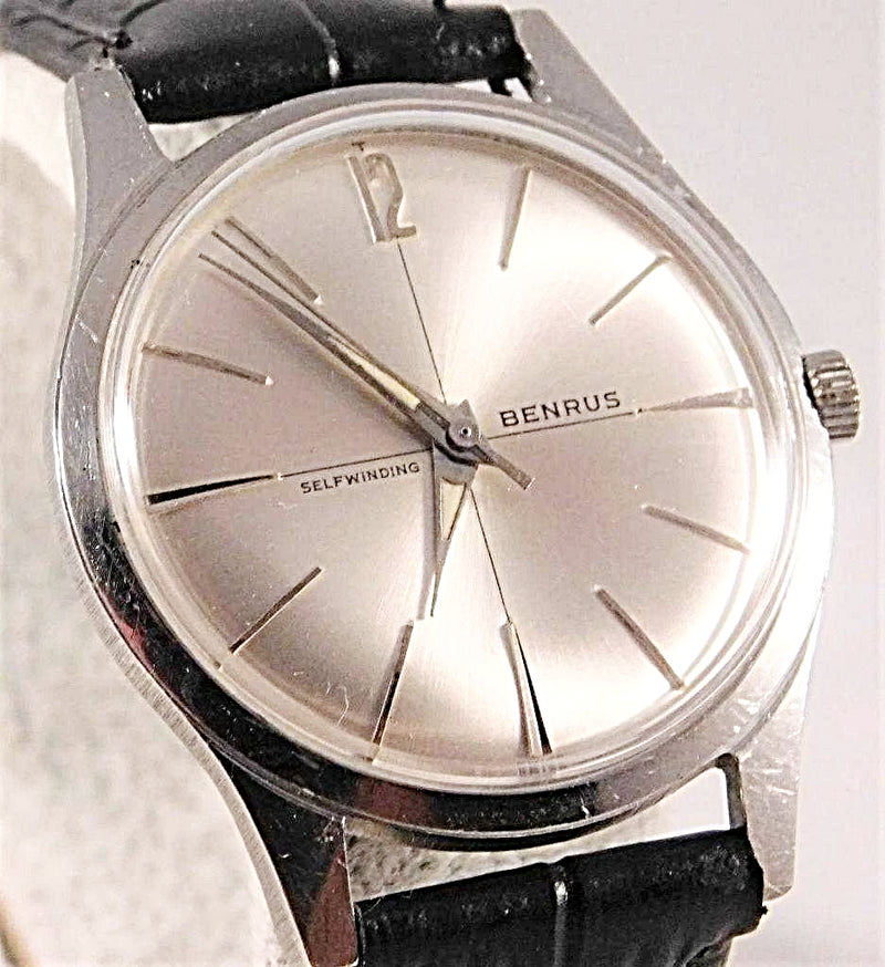 Benrus Automatic Stainless Steel Silver Sunburst Dial Mens Vintage Watch....34mm | The Vintage Outlet