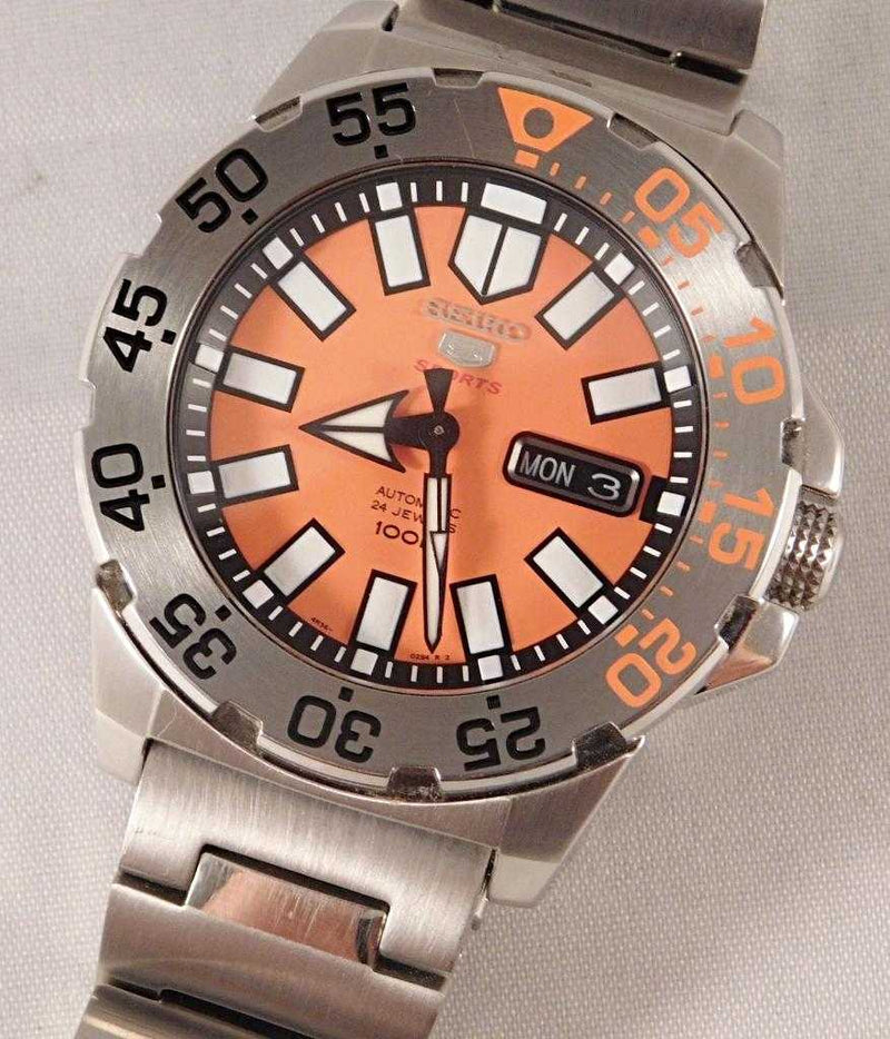 43mm Seiko Baby Orange Monster SRP483 Mens Vintage Watch