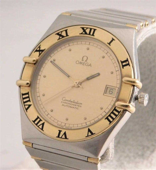 Omega Constellation Automatic Chronometer 18k Solid Gold Half Bar/SS Mens Watch....35mm | The Vintage Outlet