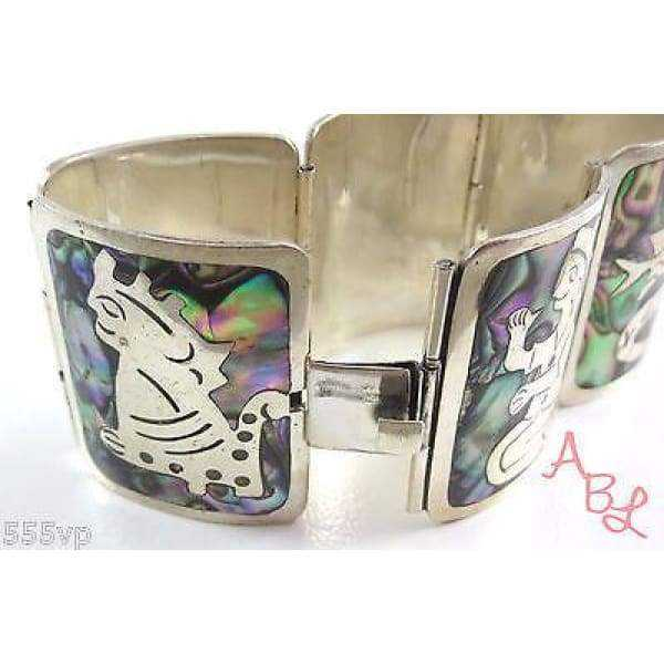 Abalone Bracelet Mexican Southwest .925 Sterling Silver Inlay....8"