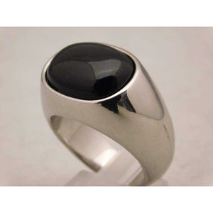 Black Onyx Mens Ring in Stylish Stainless Steel Setting....Size 11 - Rings