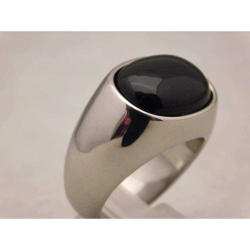 Black Onyx Mens Ring in Stylish Stainless Steel Setting....Size 11 | The Vintage Outlet