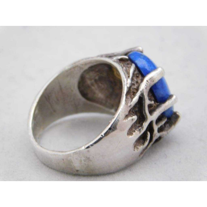 Blue Lapis Lazuli Mens Ring .925 Sterling Silver 14 grams Size 10.5 | The Vintage Outlet