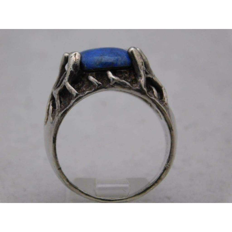 Blue Lapis Lazuli Mens Ring .925 Sterling Silver 14 grams Size 10.5 - Rings