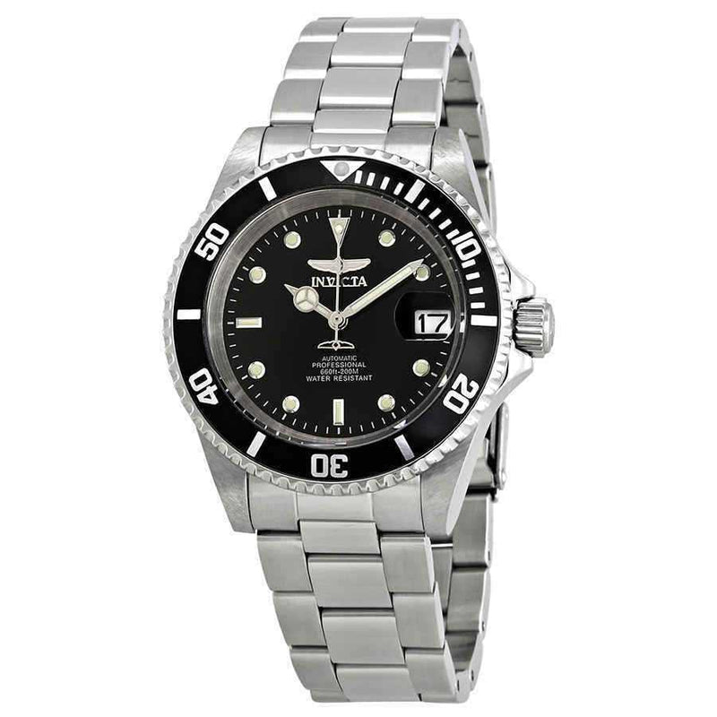 40mm Invicta Pro Black Dial Automatic Mens Vintage Watch