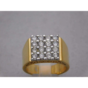 Mens Gold Plated 16 CZ Stones Bling Ring Size 11 - Rings