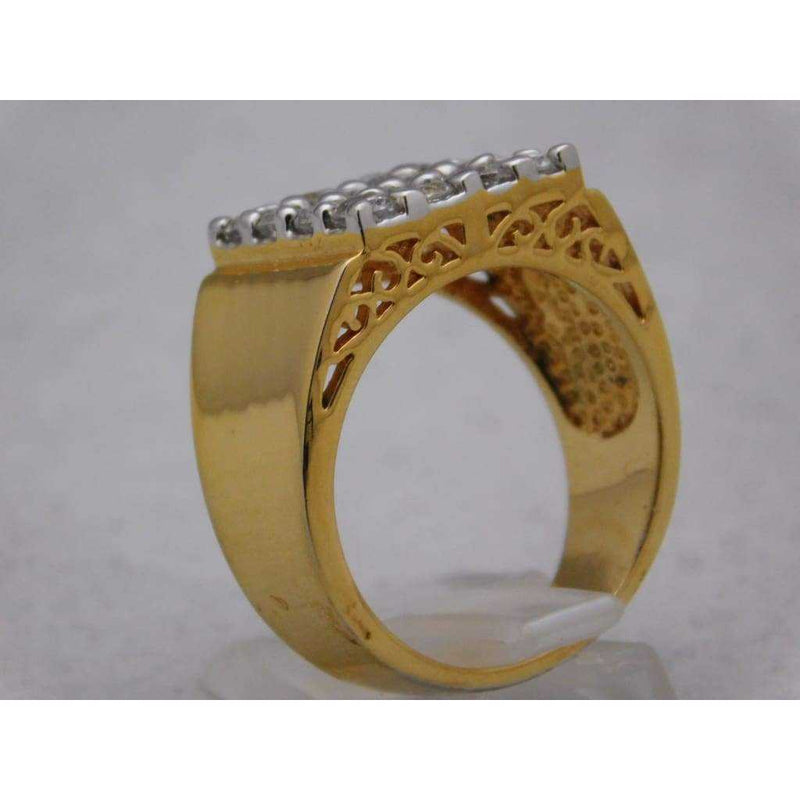 "Mens Gold Plated 16 CZ Stones ""Bling"" Ring Size 11 