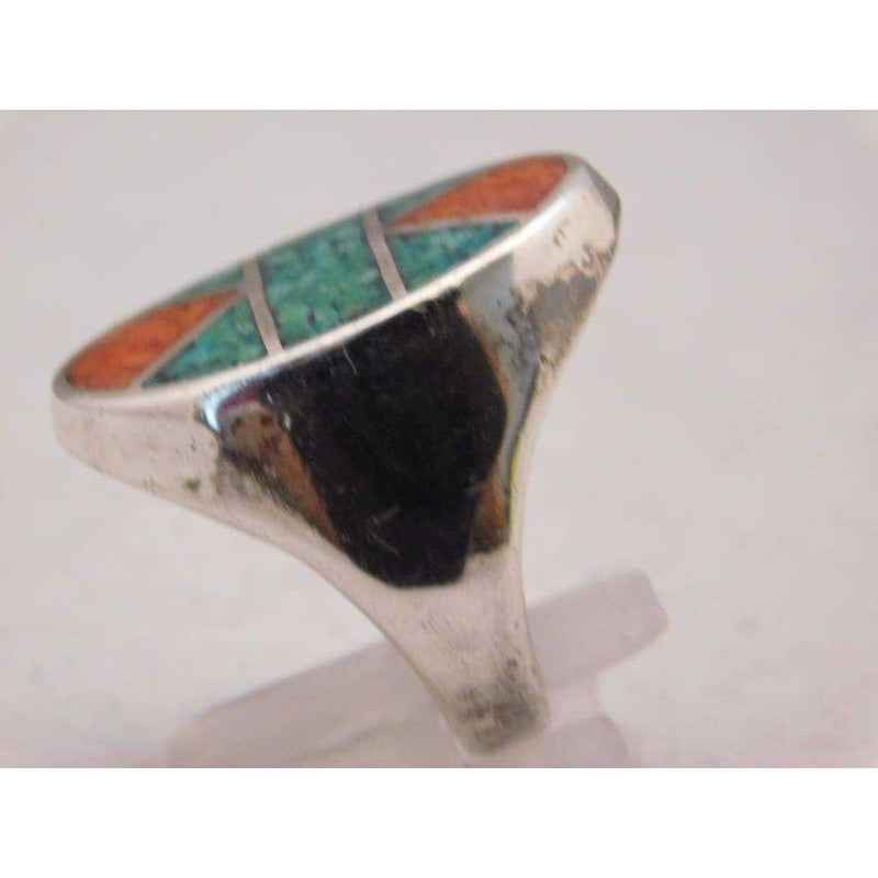 Sterling Silver Crushed Red & Blue Turquoise Mosaic Pattern Mens Ring Size 10.75 - Rings