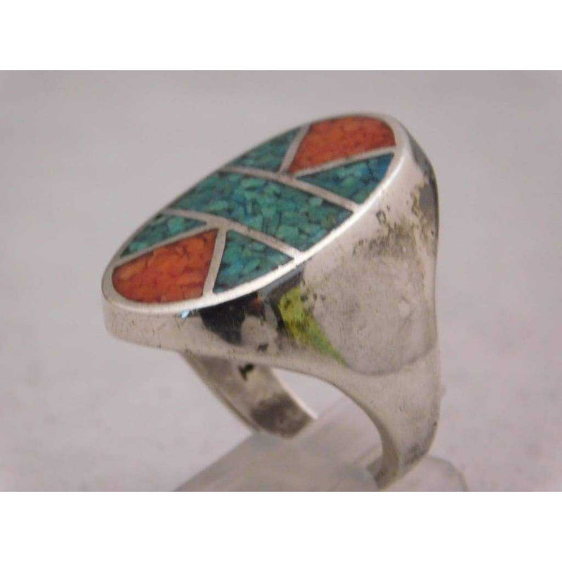 Sterling Silver Crushed Red & Blue Turquoise Mosaic Pattern Mens Ring Size 10.75 | The Vintage Outlet