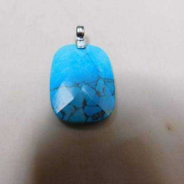 Turquoise Stone Rectangle Pendant With .925 Silver Bale And Silver 19 Necklace - Pendants