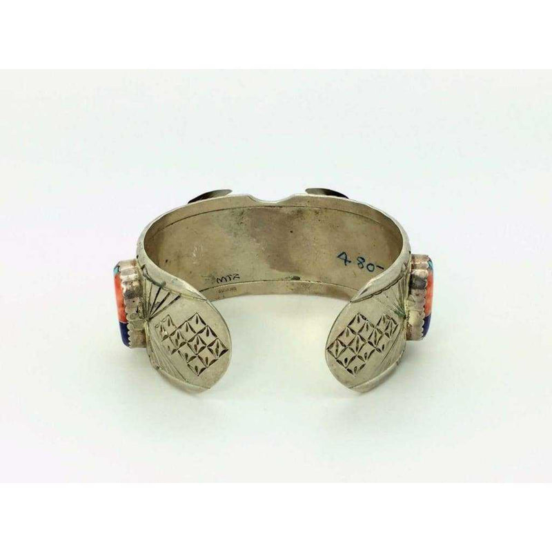 Watch Bracelet Sterling Silver & Multi Stone Inlaid Cuff Navajo Mens | The Vintage Outlet