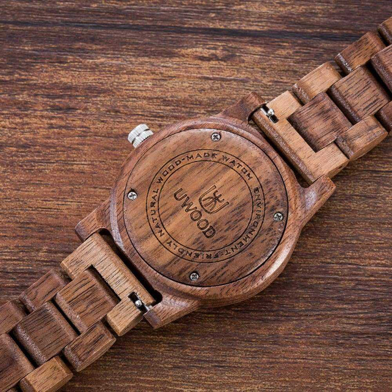 Wood Watch Natural Handmade Walnut Mens/Women Quartz Wristwatch....40mm - Wristwatches