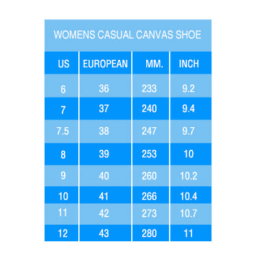 Womens Casual Sizing Guide