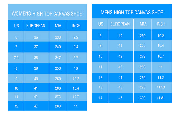 High Tops Sizing Chart