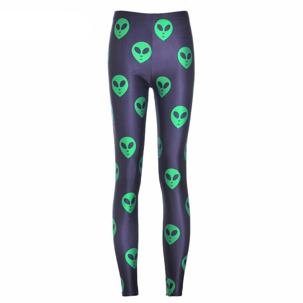 Alien Printed Leggings-Leggy Me