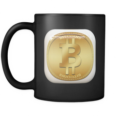 Bitcoin Gold Plate Black Mug-Leggy Me
