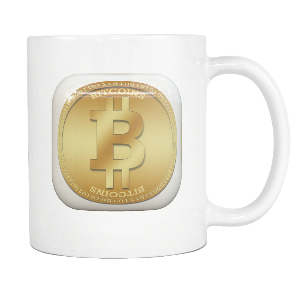 Bitcoin Gold Plate White Mug-Leggy Me