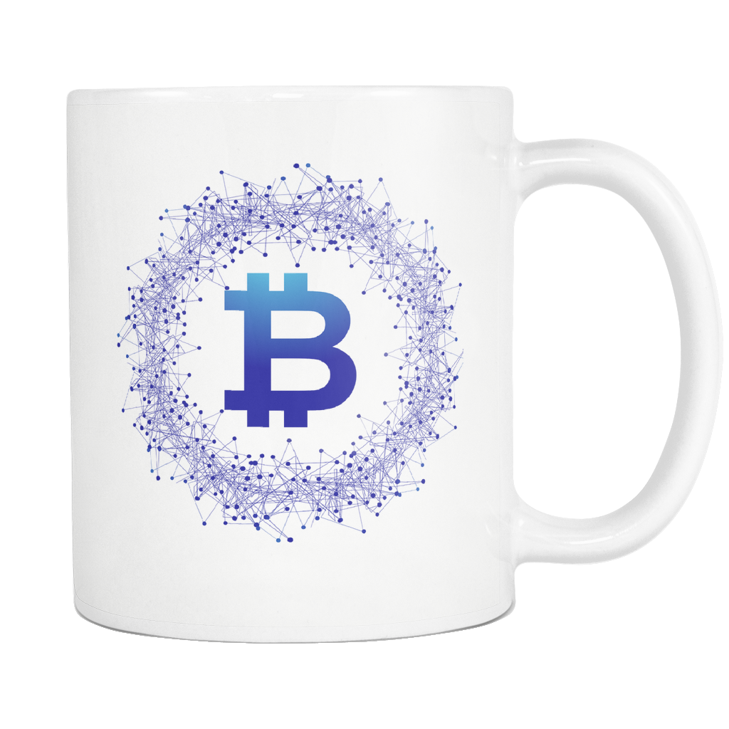 Bitcoin Network Wreath White Mug-Leggy Me