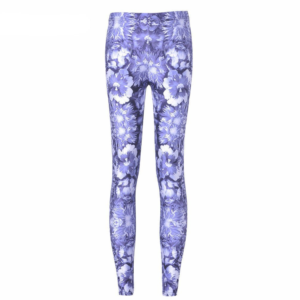 Blue Flowers Leggings-Leggy Me