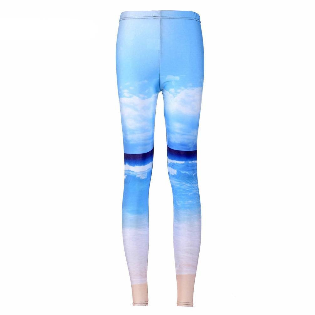 Blue Sky Beach Printed Leggings-Leggy Me