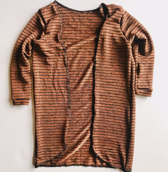 RTS 3t Shimmery Rust and black stripe cardi