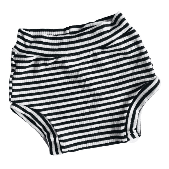 black and white stripe shorties