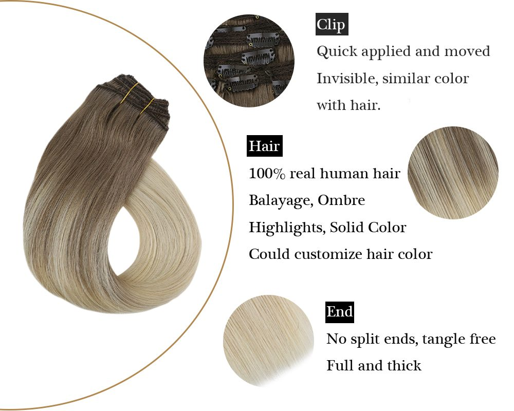 human hair clip in hair extensions balayage blonde